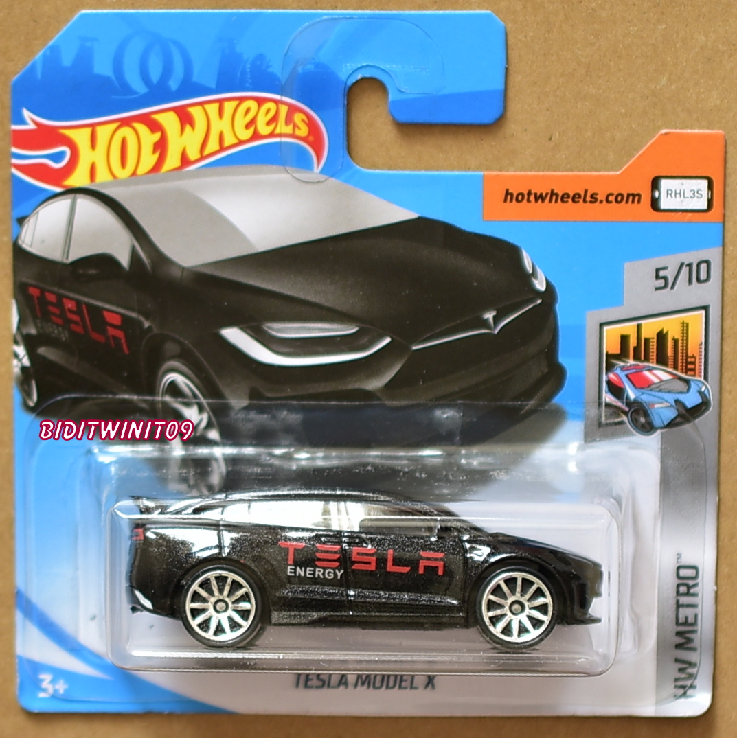 HOT WHEELS 2018 HW METRO TESLA MODEL X BLACK SHORT CARD