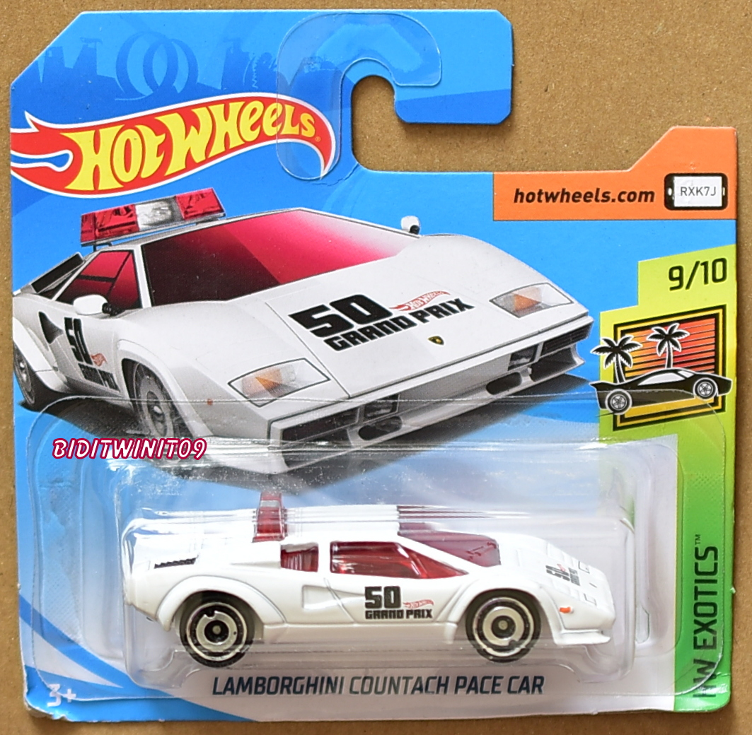 HOT WHEELS 2018 HW EXOTICS LAMBORGHINI COUNTACH PACE CAR WHITE SHORT CARD