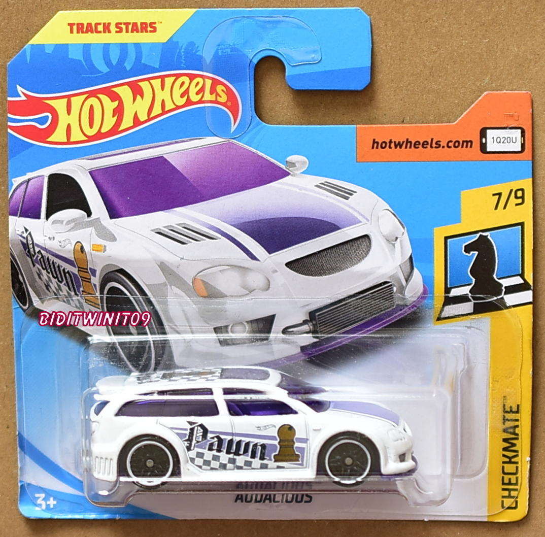 HOT WHEELS 2018 CHECKMATE AUDACIOUS WHITE SHORT CARD