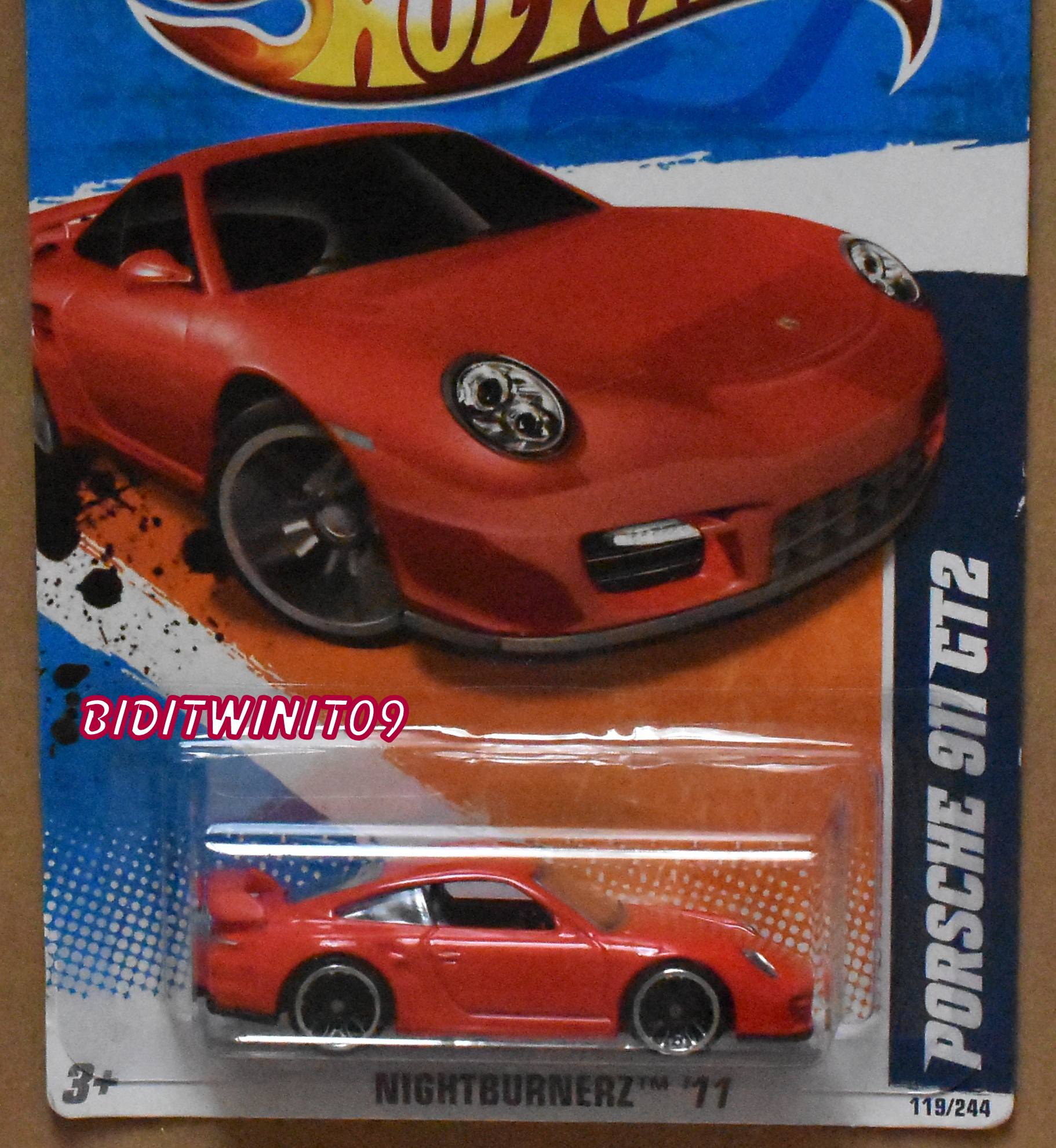 HOT WHEELS 2011 NIGHTBURNERZ PORSCHE 911 GT2 RED E+