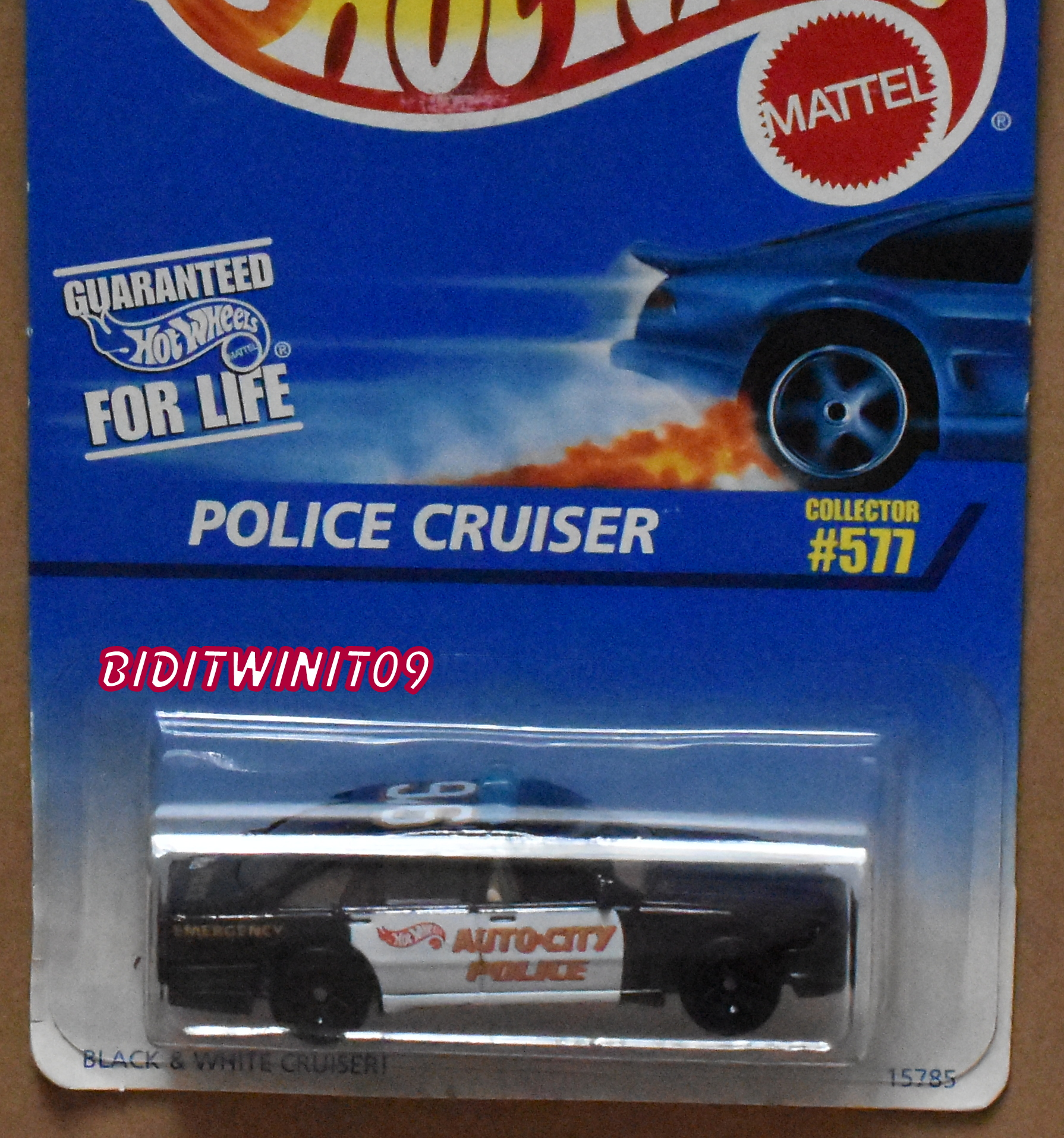 HOT WHEELS 1996 POLICE CRUISER AUTO CITY #577 BLACK E+