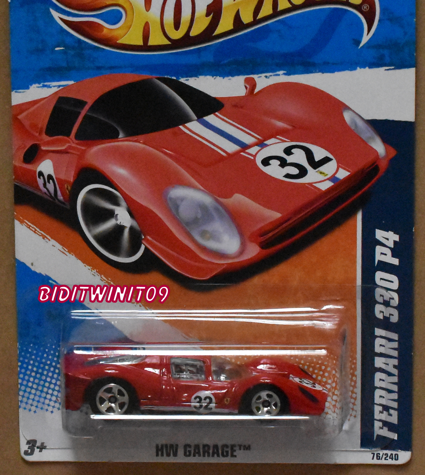 HOT WHEELS 2011 HW GARAGE FERRARI 330 P4 RED E+