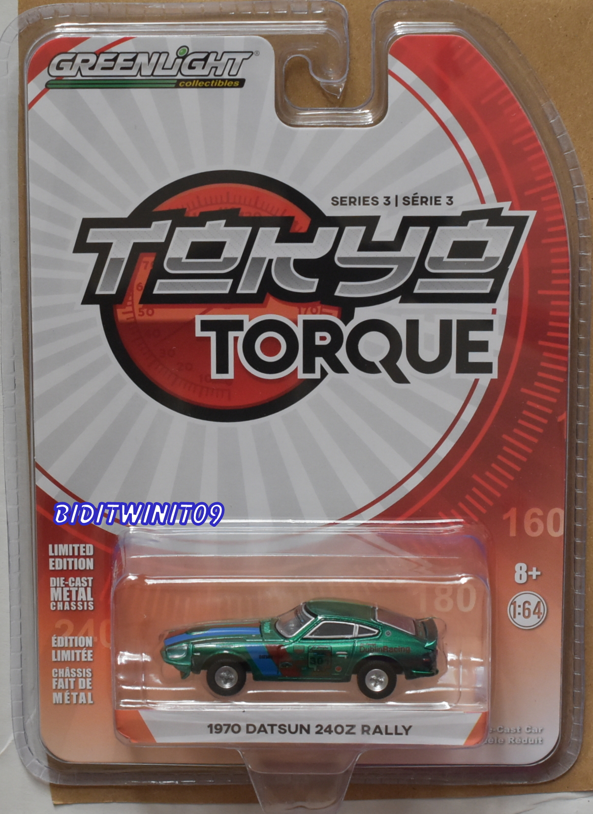 GREENLIGHT 2018 TOKYO TORQUE SERIES 3 1970 DATSUN 240Z RALLY GREEN MACHINE E+