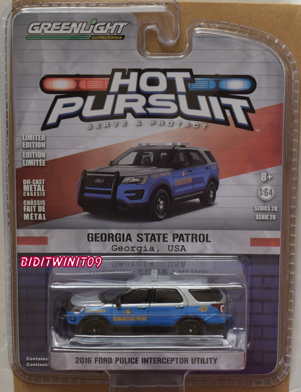 GREENLIGHT 2018 HOT PURSUIT SERIES 28 2016 FORD POLICE INTERCEPTOR UTILITY
