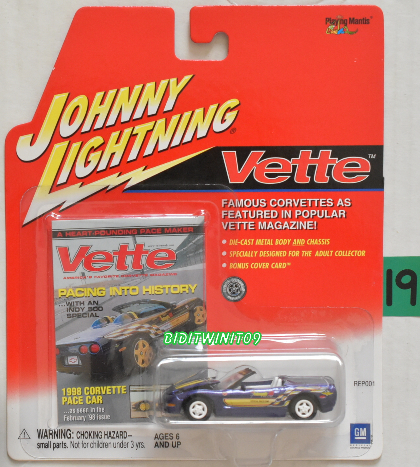JOHNNY LIGHTNING VETTE 1998 CORVETTE PACE CAR WHITE LIGHTNING E+