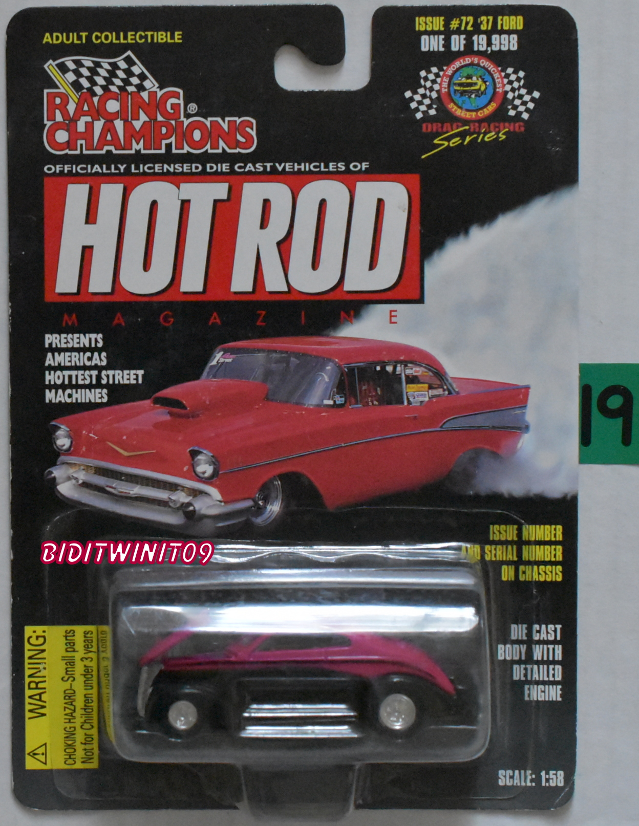 RACING CHAMPIONS HOT ROD MAGAZINE ISSUE #72 '37 FORD 1:58 SCALE E+