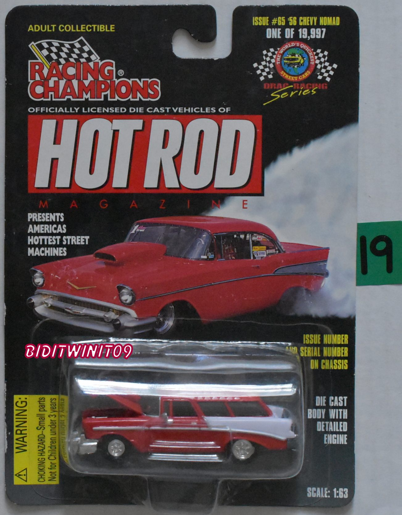 RACING CHAMPIONS HOT ROD MAGAZINE ISSUE #65 '56 CHEVY NOMAD 1:63 SCALE E+