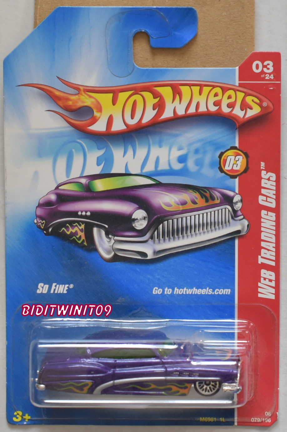HOT WHEELS 2008 WEB TRADING CARS SO FINE #03/24 PURPLE