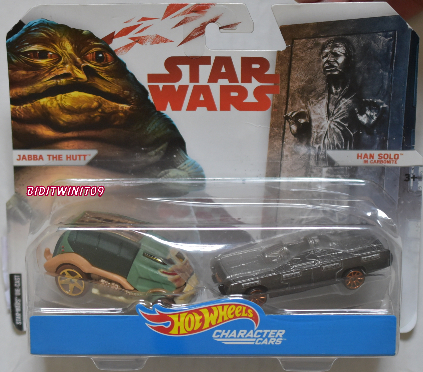 HOT WHEELS STAR WARS 2 CAR PACK JABBA THE HUTT - HAN SOLO IN CARBONITE