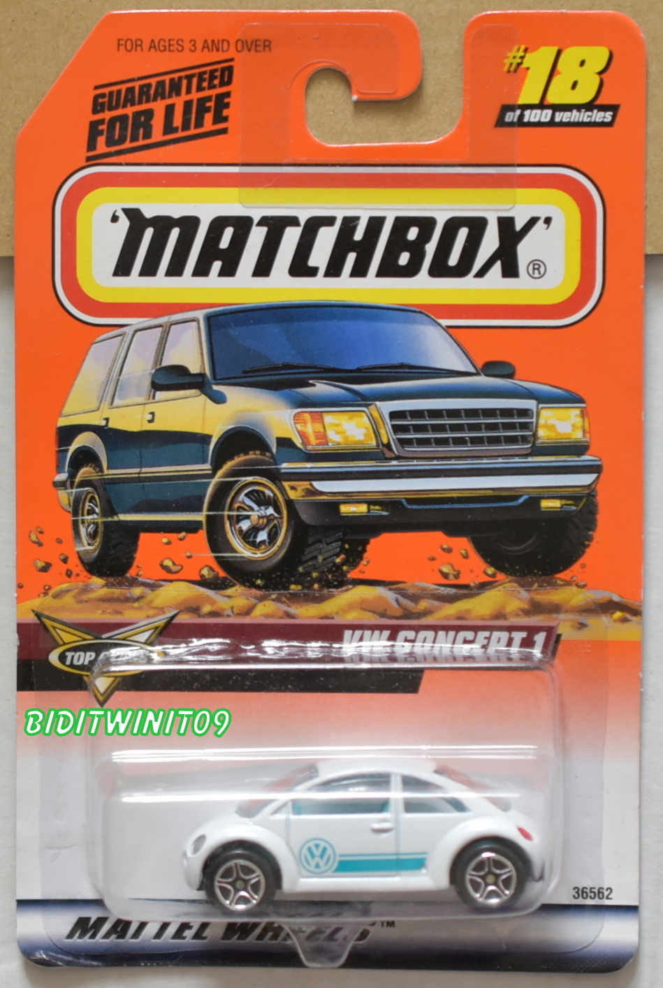 MATCHBOX 1998 TOP CLASS VW CONCEPT 1 WHITE #18 OF 100