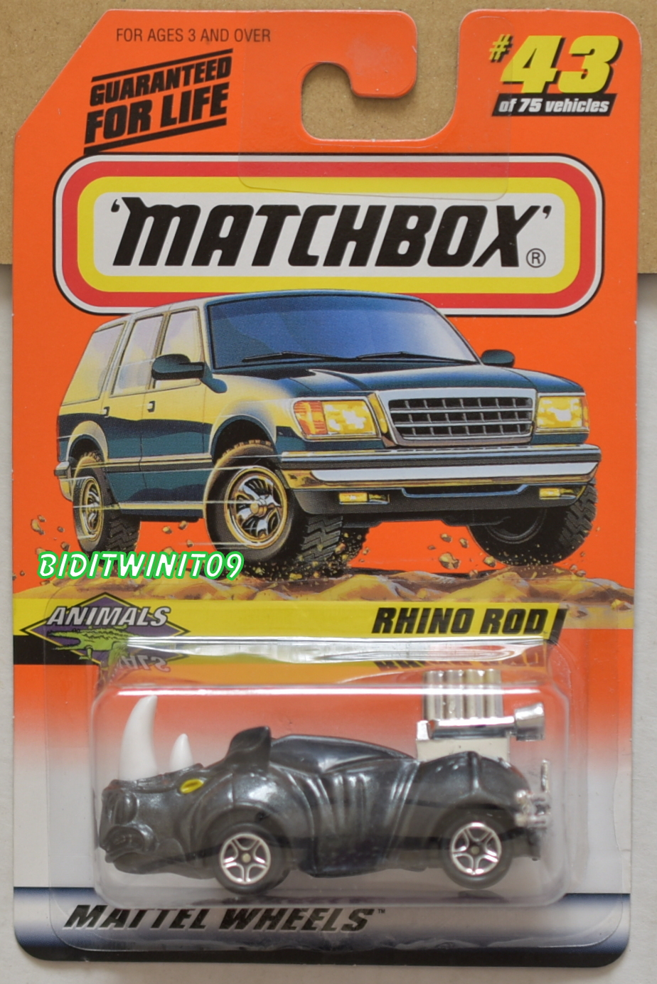 MATCHBOX 1998 RHINO ROD ANIMALS #43/75
