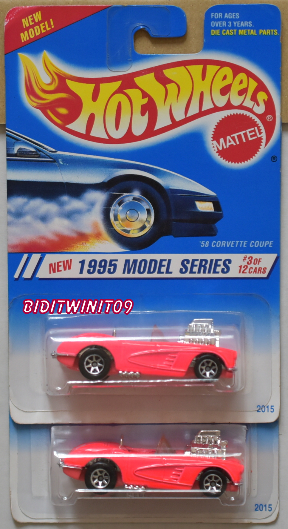 HOT WHEELS 1995 MODEL SERIES '58 CORVETTE COUPE COLOR VARIATION E+