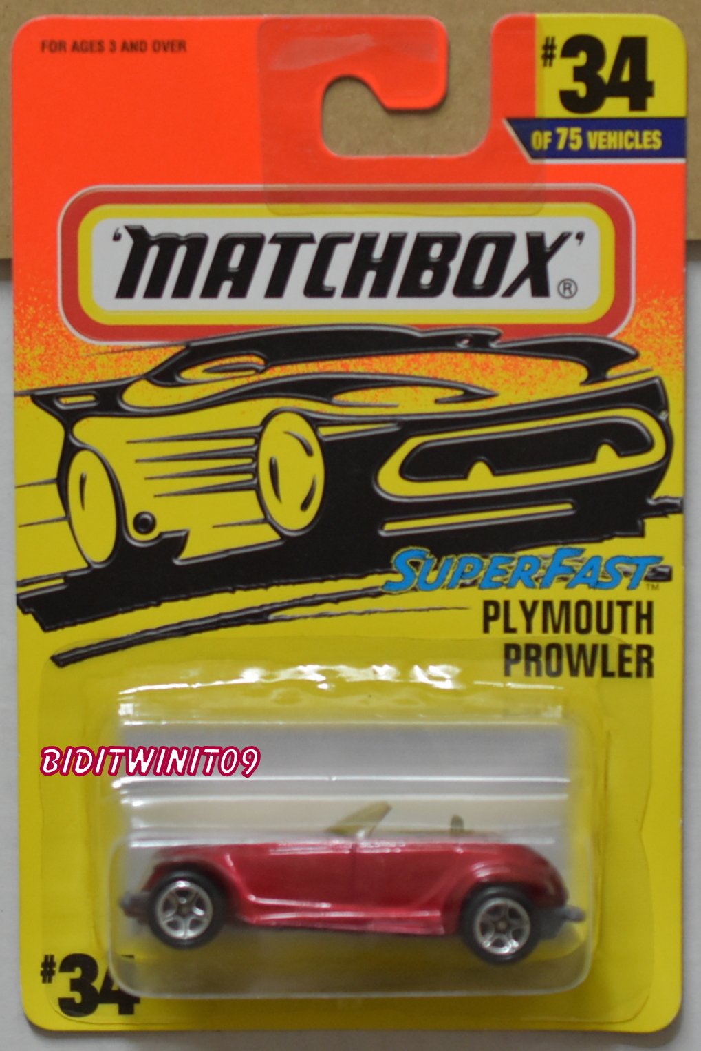 MATCHBOX 1997 SUPERFAST PLYMOUTH PROWLER #34/75 RED