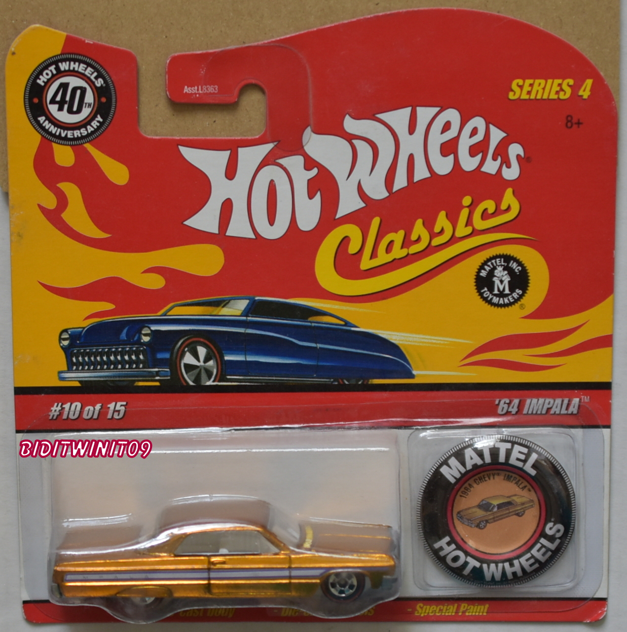 HOT WHEELS CLASSICS SERIES 4 1964 CHEVY IMPALA #10/15 W/ MATTEL BUTTON E+