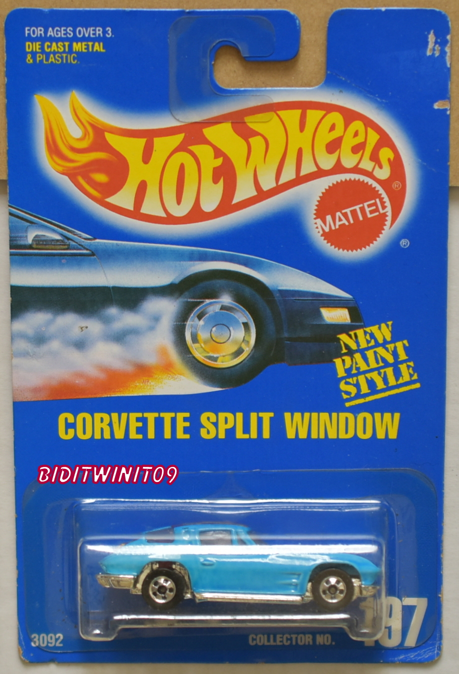 HOT WHEELS 1991 BLUE CARD CORVETTE SPLIT WINDOW #197 BASIC WHEELS LIGHT BLUE E+