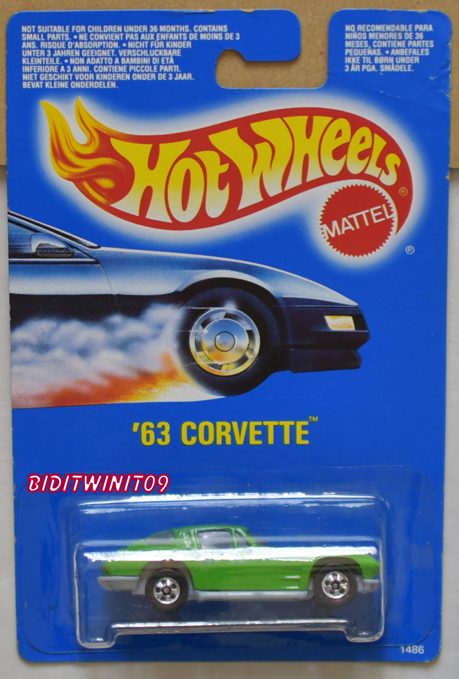 HOT WHEELS 1990 BLUE CARD '63 CORVETTE GREEN INTL CARD