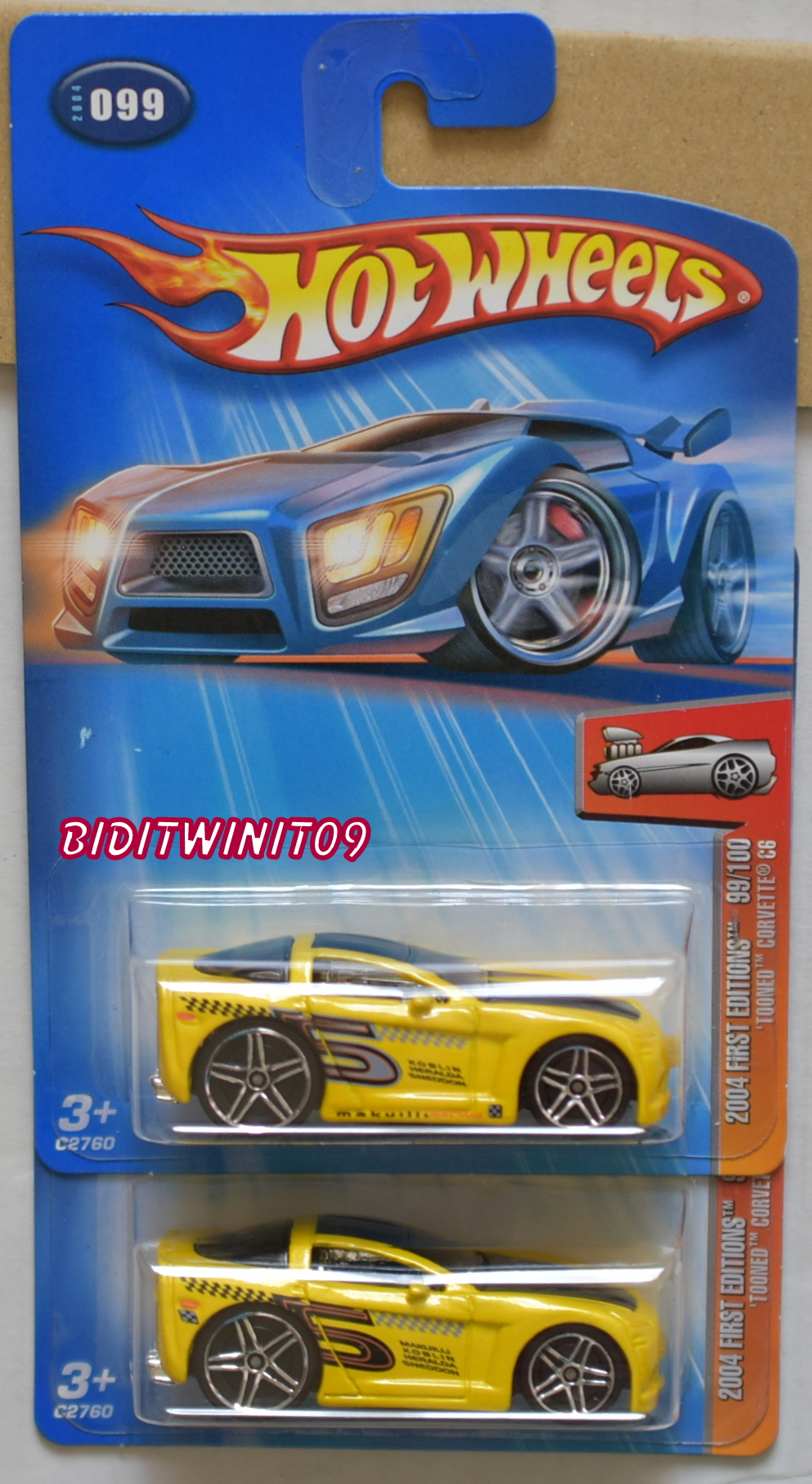HOT WHEELS 2004 FIRST EDITIONS TOONED CORVETTE C6 #099 TAMPO VARIATION E+