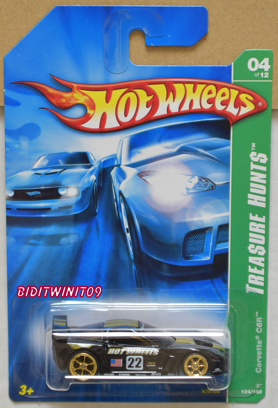 HOT WHEELS 2007 SUPER TREASURE HUNTS CORVETTE C6R BLACK E+
