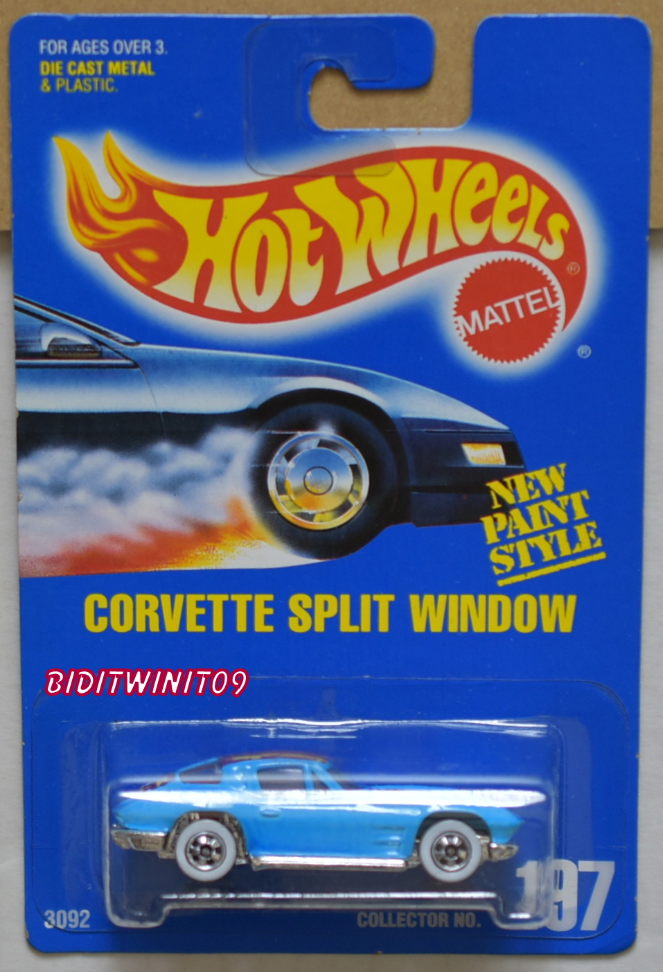 HOT WHEELS 1991 BLUE CARD CORVETTE SPLIT WINDOW #197 LIGHT BLUE E+