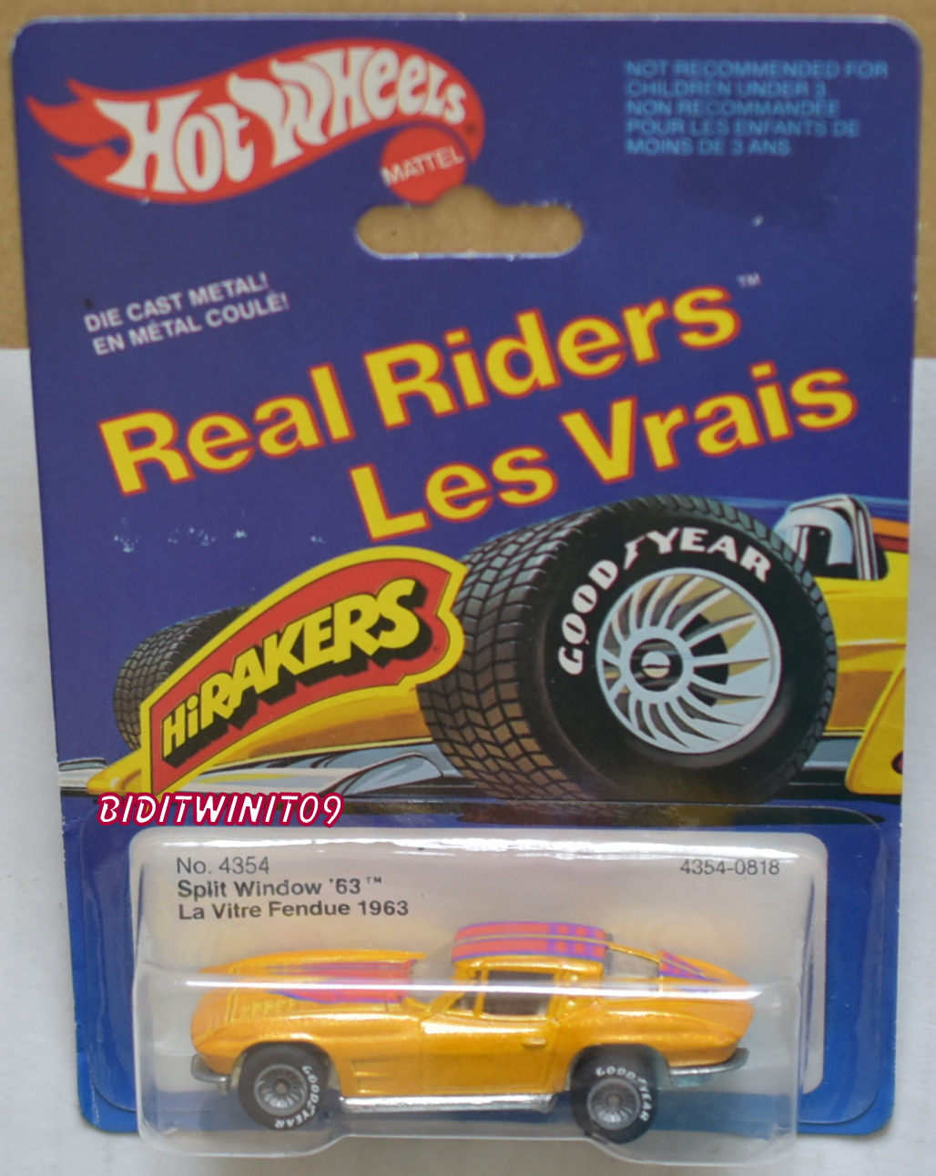 HOT WHEELS 1982 SPLIT WINDOW '63 #4354 REAL RIDERS GREY HUBS FRENCH CARD E+