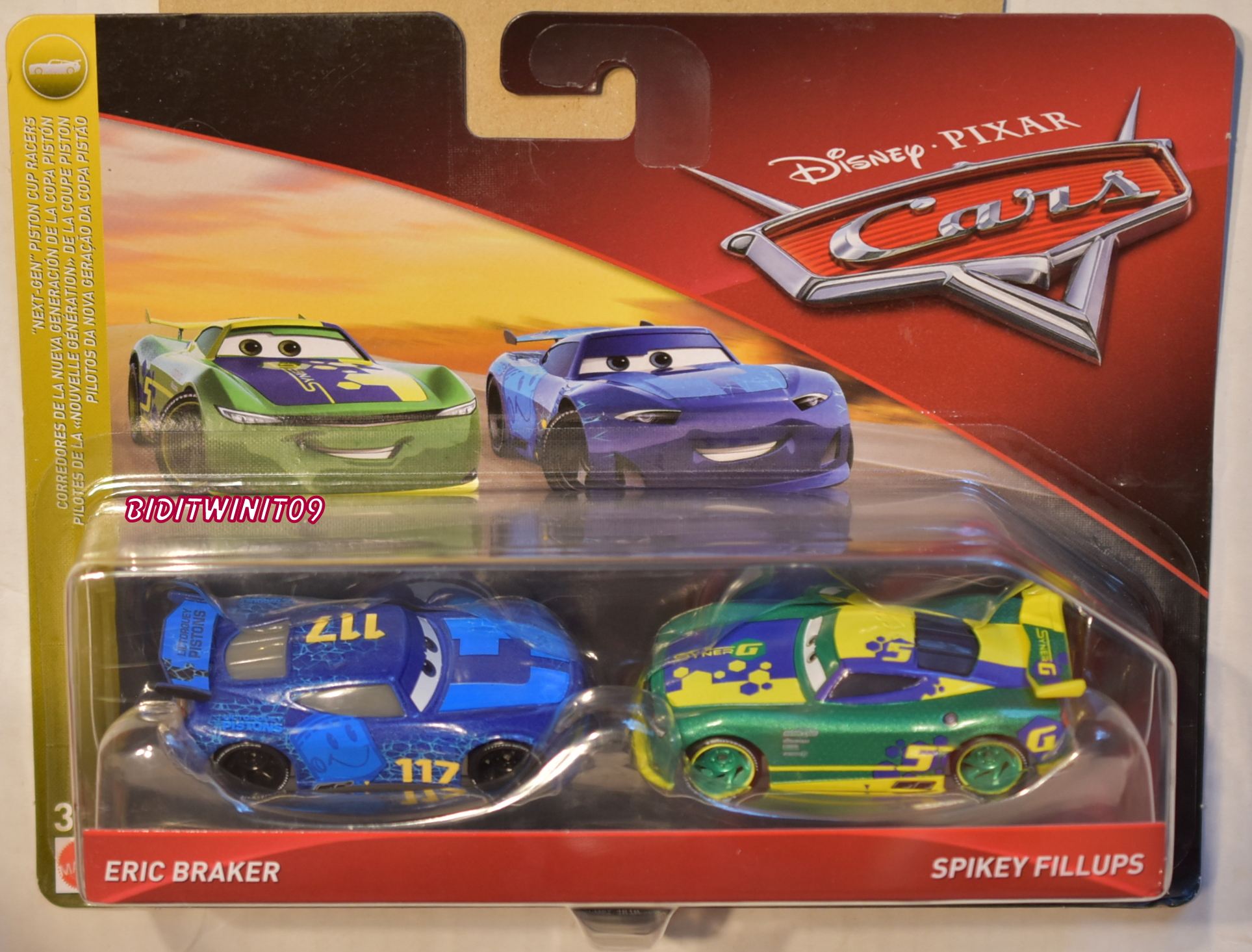 DISNEY PIXAR CARS ERIC BRAKER - SPIKEY FILLUPS 2 CAR PACK