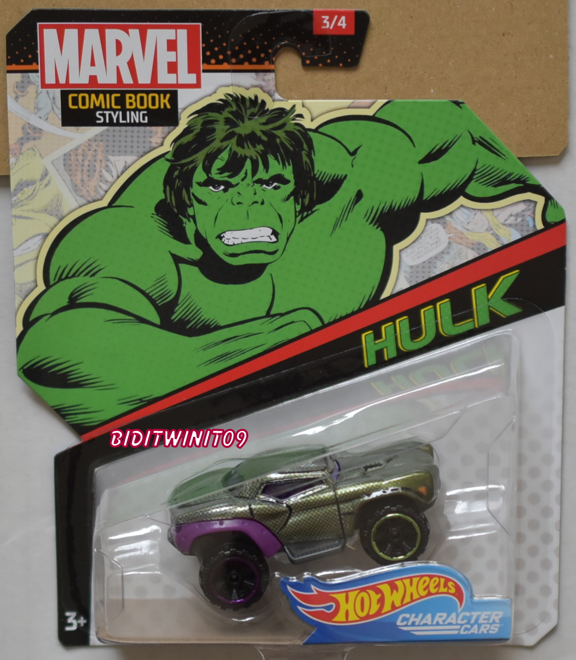 HOT WHEELS MARVEL COMIC BOOK STYLING HULK CHARACTER CARS