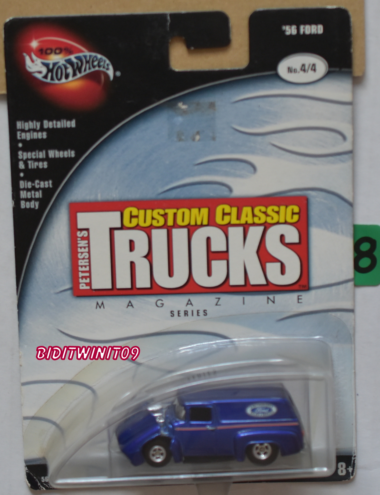 100% HOT WHEELS CUSTOM CLASSIC TRUCKS '56 FORD #4/4 BLUE