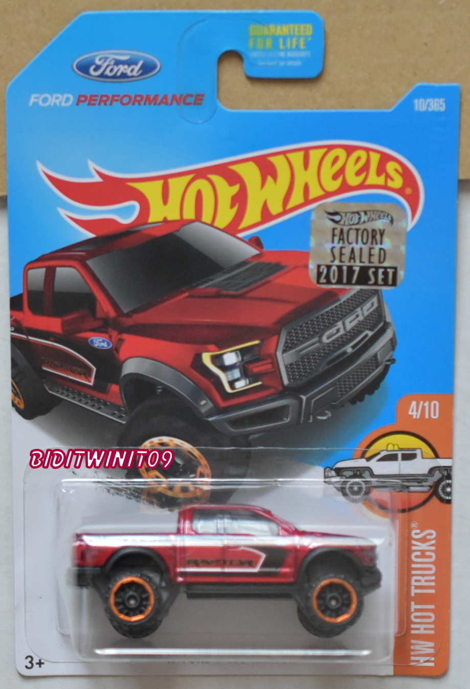 HOT WHEELS 2017 HW HOT TRUCKS '17 FORD F-150 RAPTOR RED FACTORY SEALED E+