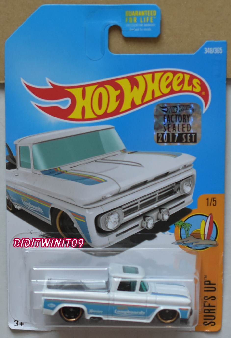 HOT WHEELS 2017 HW SURF'S UP CUSTOM '62 CHEVY PICKUP FACTORY SEALED E+