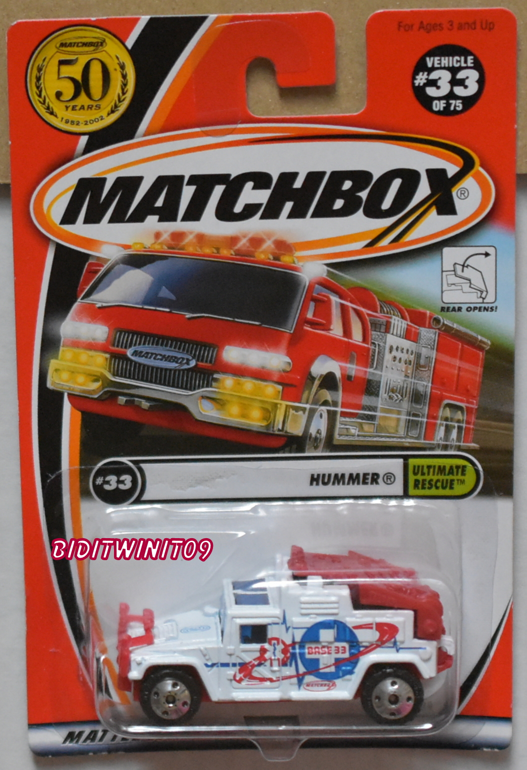 MATCHBOX 2001 #33/75 HUMMER UTIMATE RESCURE WHITE