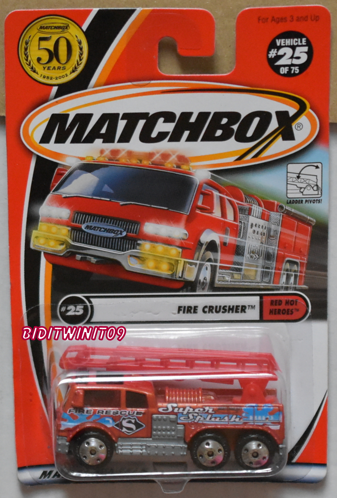 MATCHBOX 2001 50 YEARS FIRE CRUSHER RED HOT HEROES #25 E+