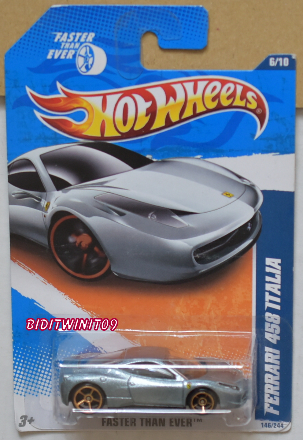 HOT WHEELS 2011 FASTER THAN EVER FERRARI 458 ITALIA GREY E+