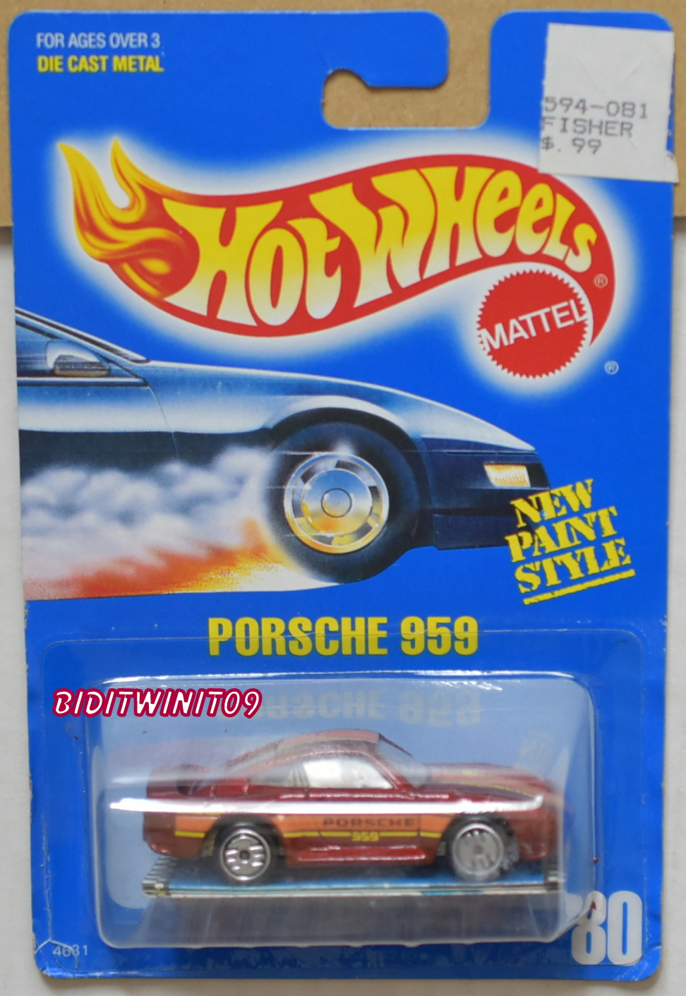 HOT WHEELS 1989 BLUE CARD PORSCHE 959 #80 W/ BOOKLET 23 E+