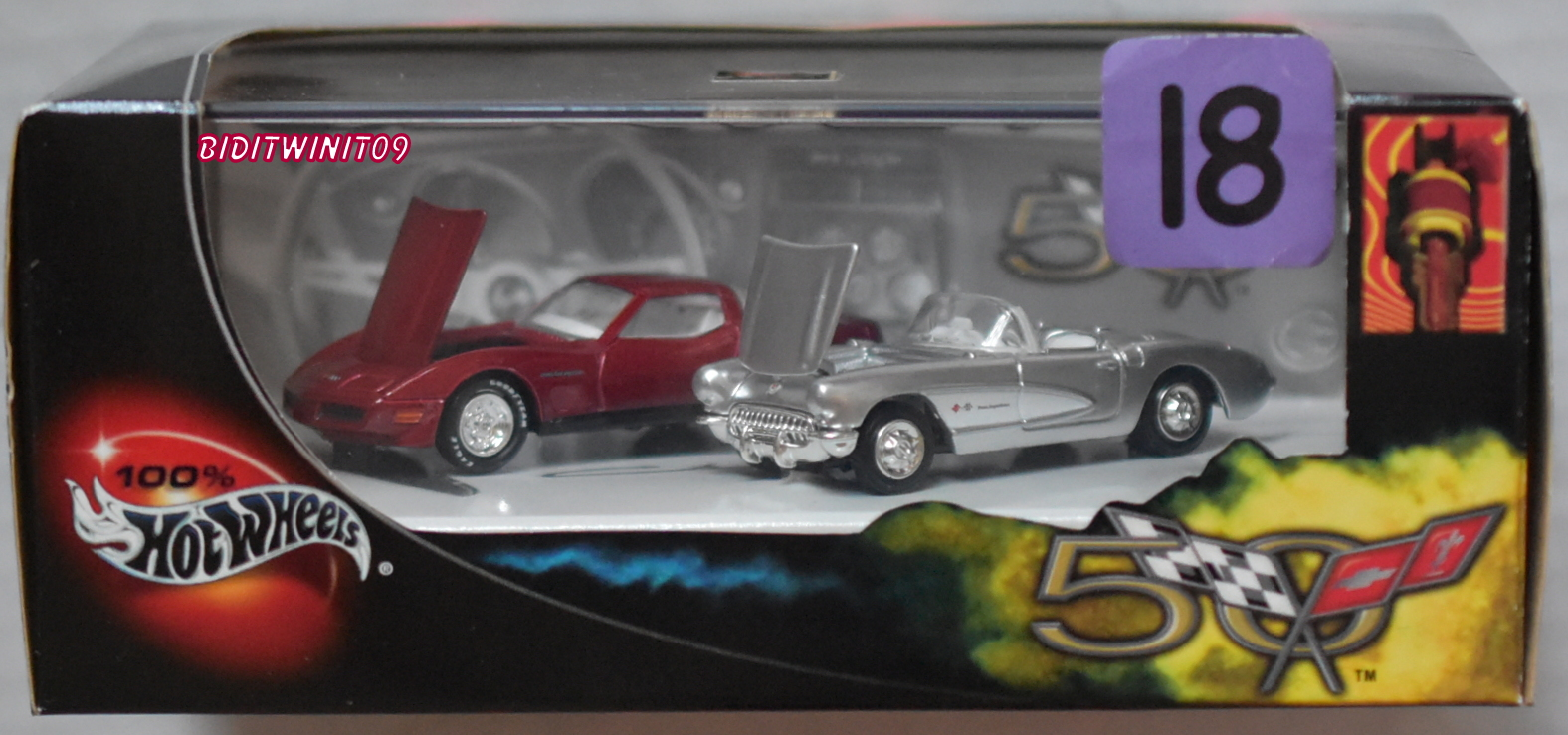 100% HOT WHEELS 50 YEARS CORVETTE LIMITED EDITION 2 CAR PACK E+