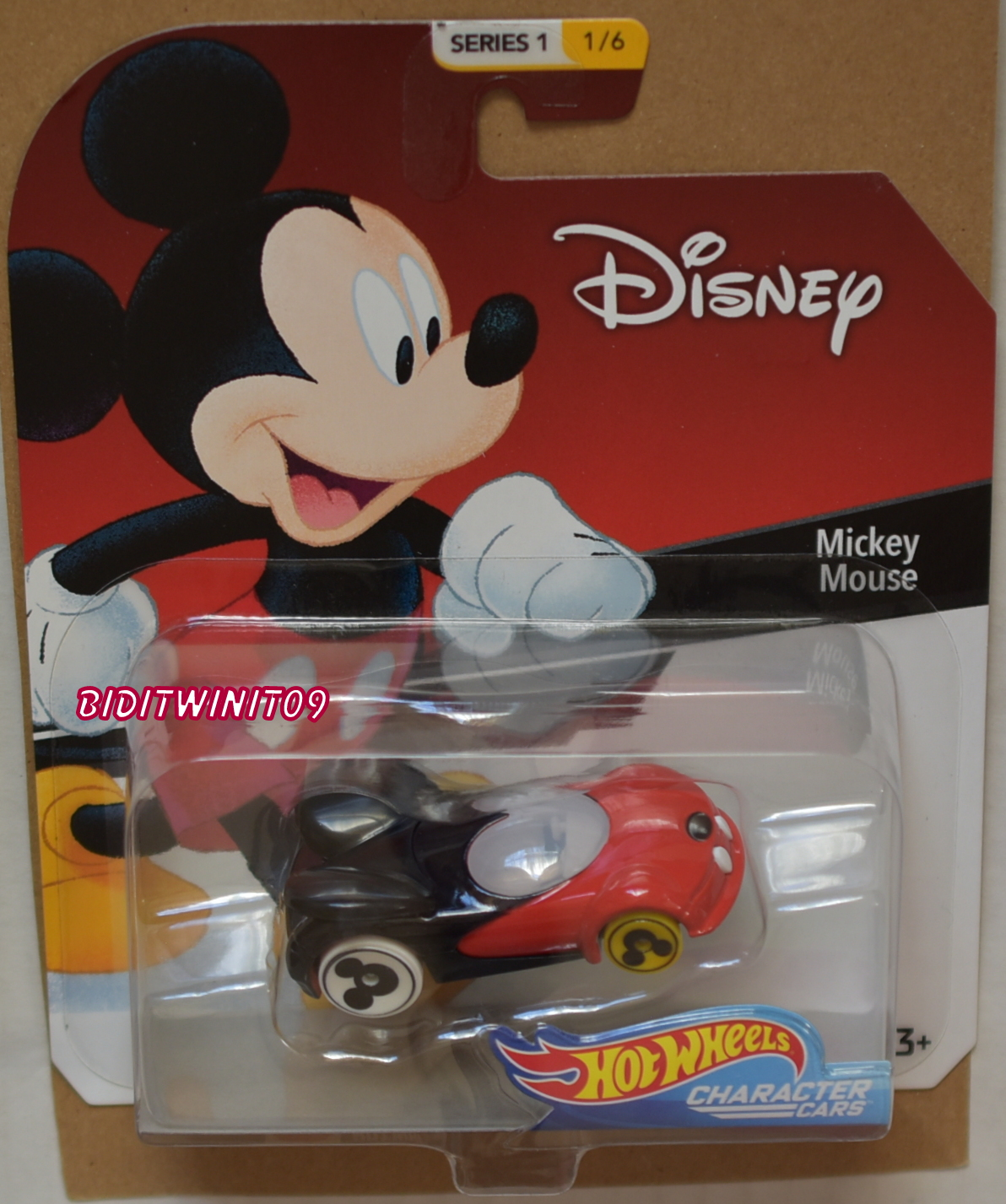 HOT WHEELS DISNEY SERIES 1 MICKEY MOUSE #1/6 BLACK & RED CHARACTER CARS