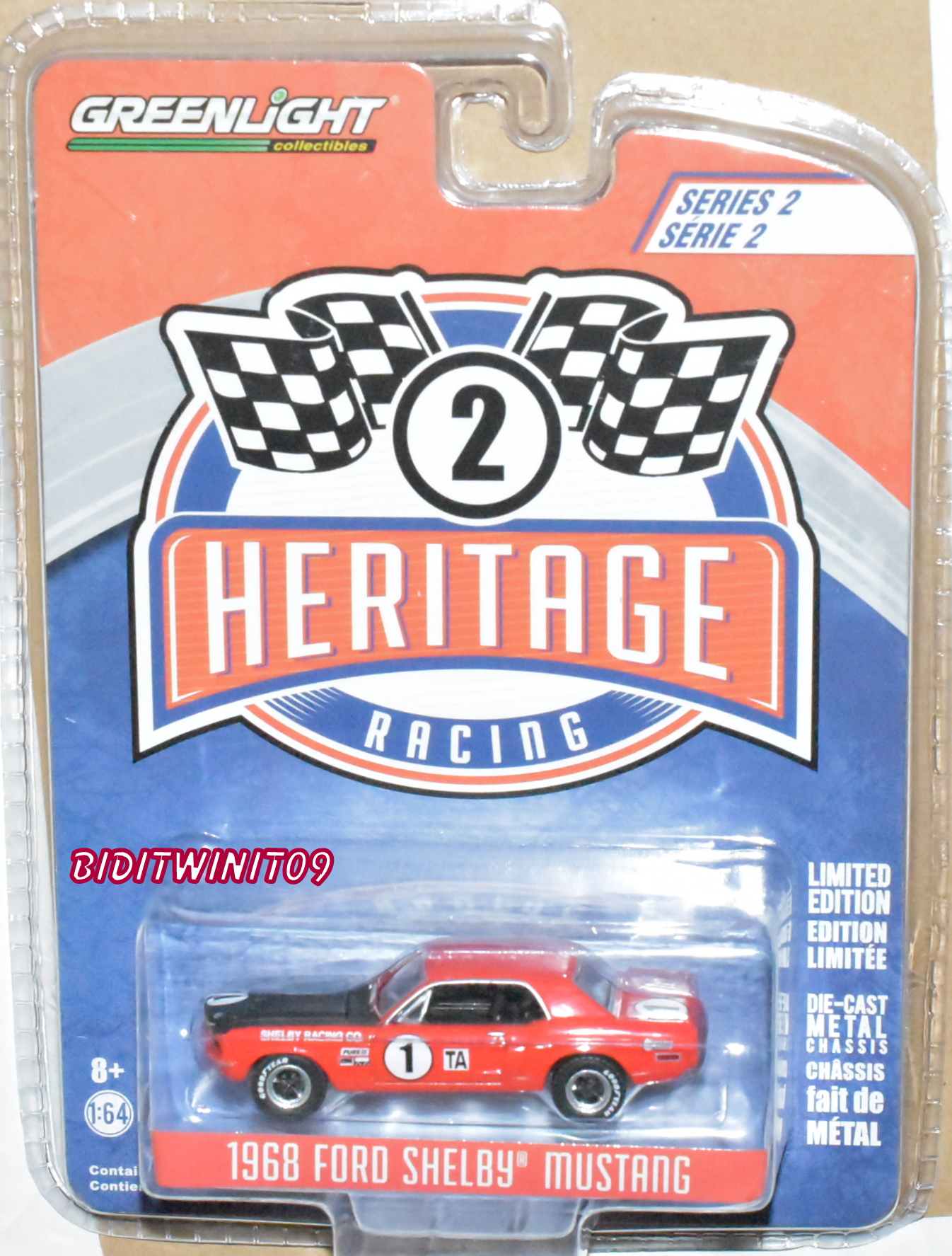GREENLIGHT 2018 HERITAGE RACING 1968 FORD SHELBY MUSTANG SERIES 2