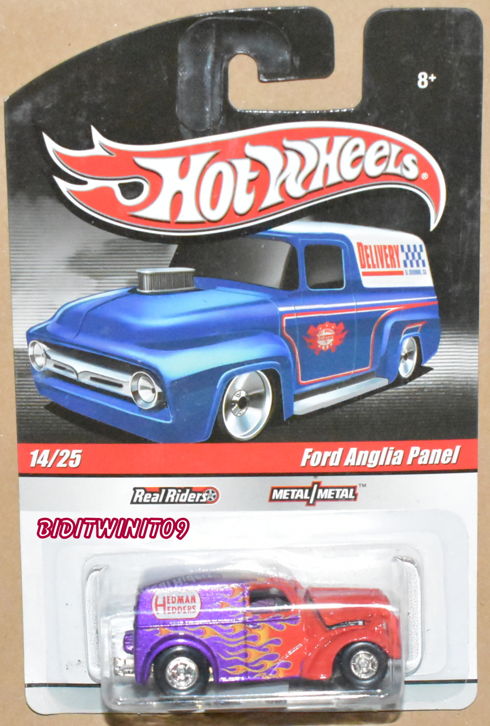 HOT WHEELS DELIVERY FORD ANGLIA PANEL #14/25 REAL RIDERS RED & PURPLE