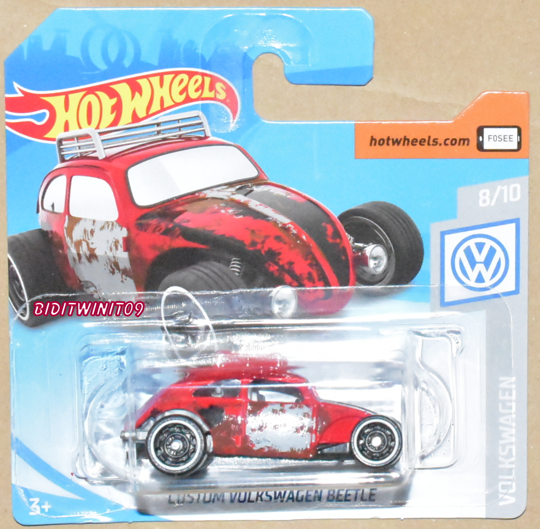 HOT WHEELS 2019 CUSTOM VOLKSWAGEN BEETLE RED CASE A SHORT CARD