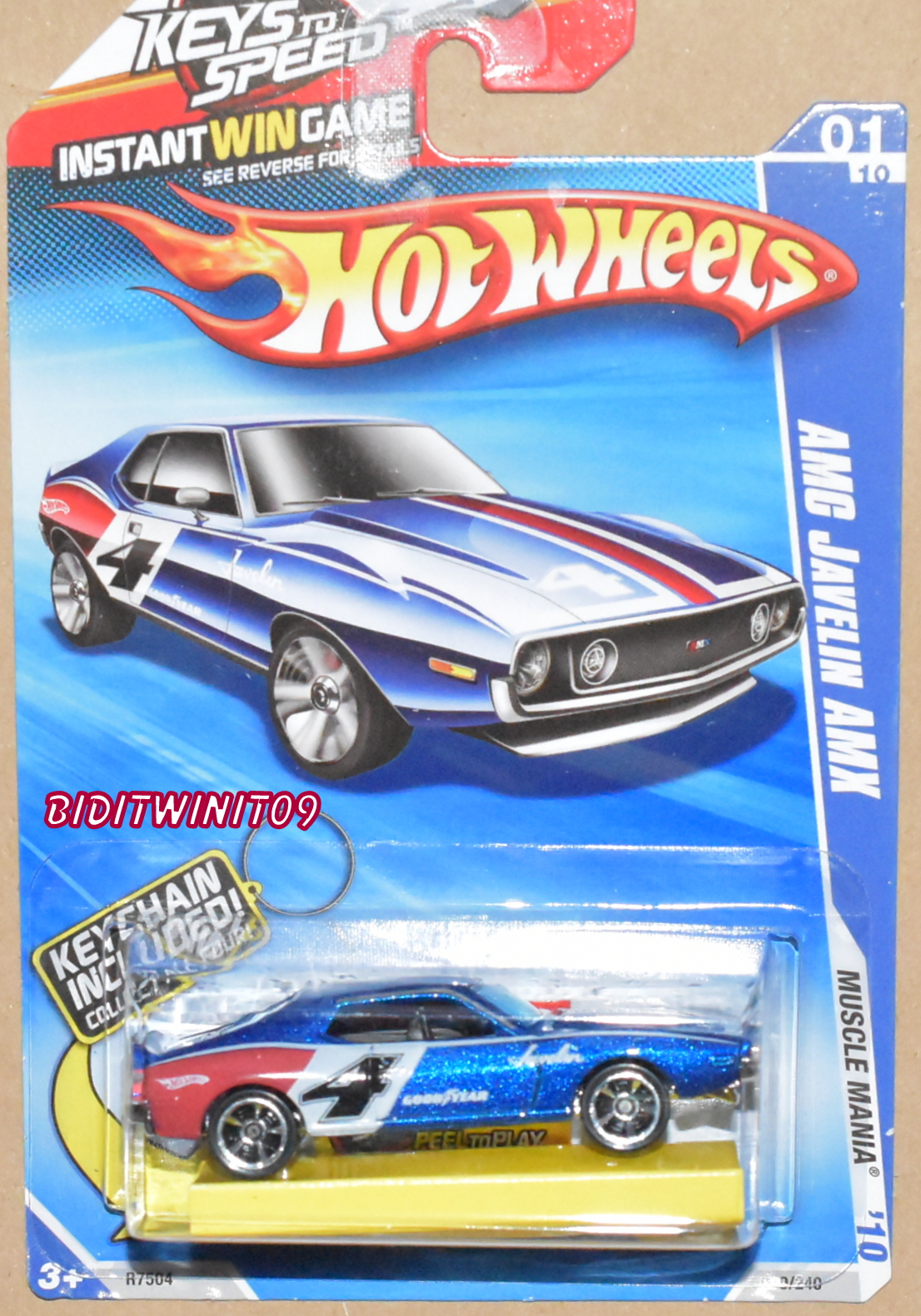 HOT WHEELS 2010 MUSCLE MANIA AMC JAVELIN AMX W/ KEYCHAIN BLUE