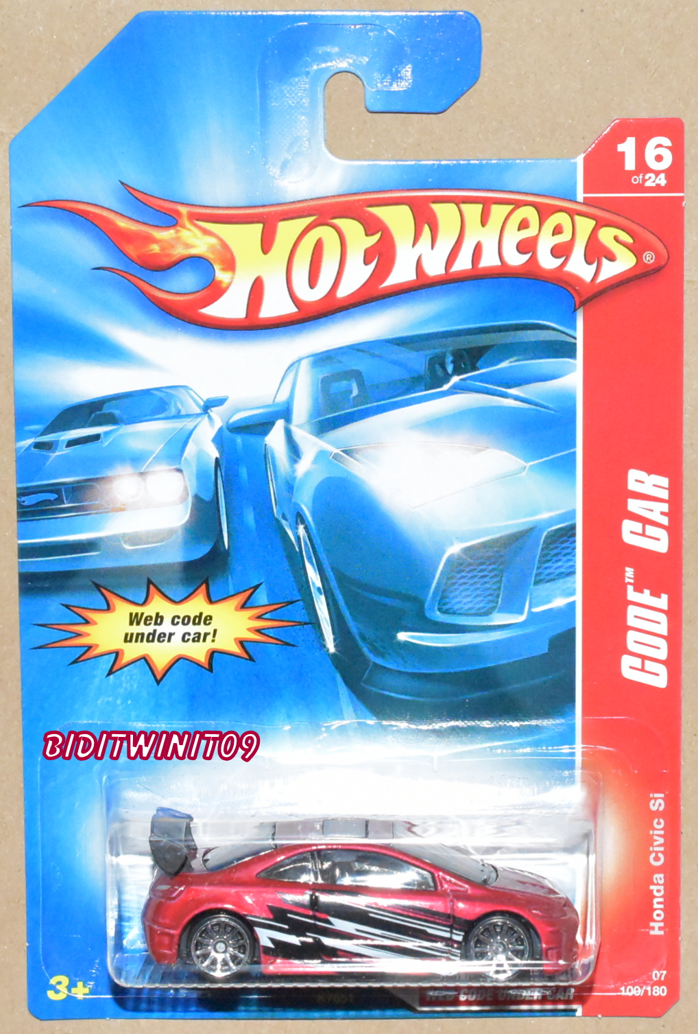 HOT WHEELS 2007 CODE CAR HONDA CIVIC SI RED E+