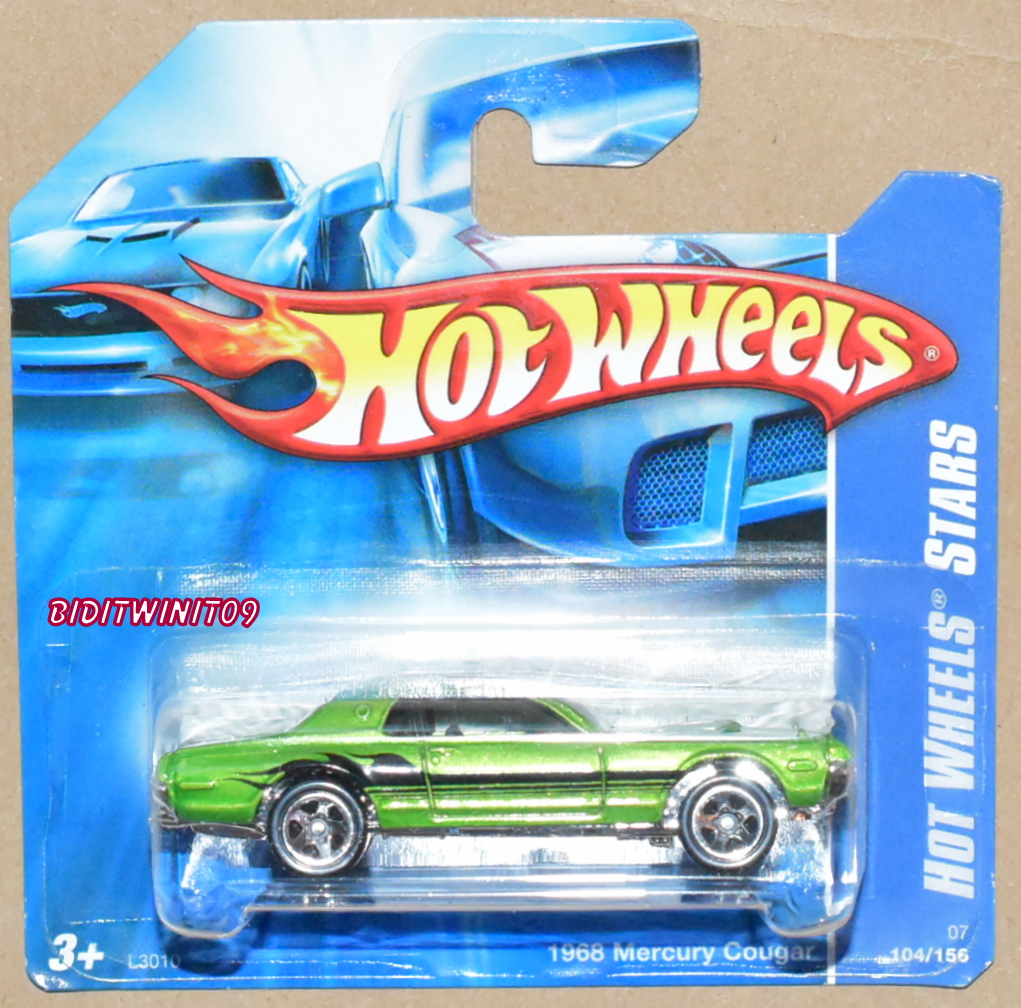 HOT WHEELS 2007 CODE CAR 1968 MERCURY COUGAR GREEN SHORT CARD E+