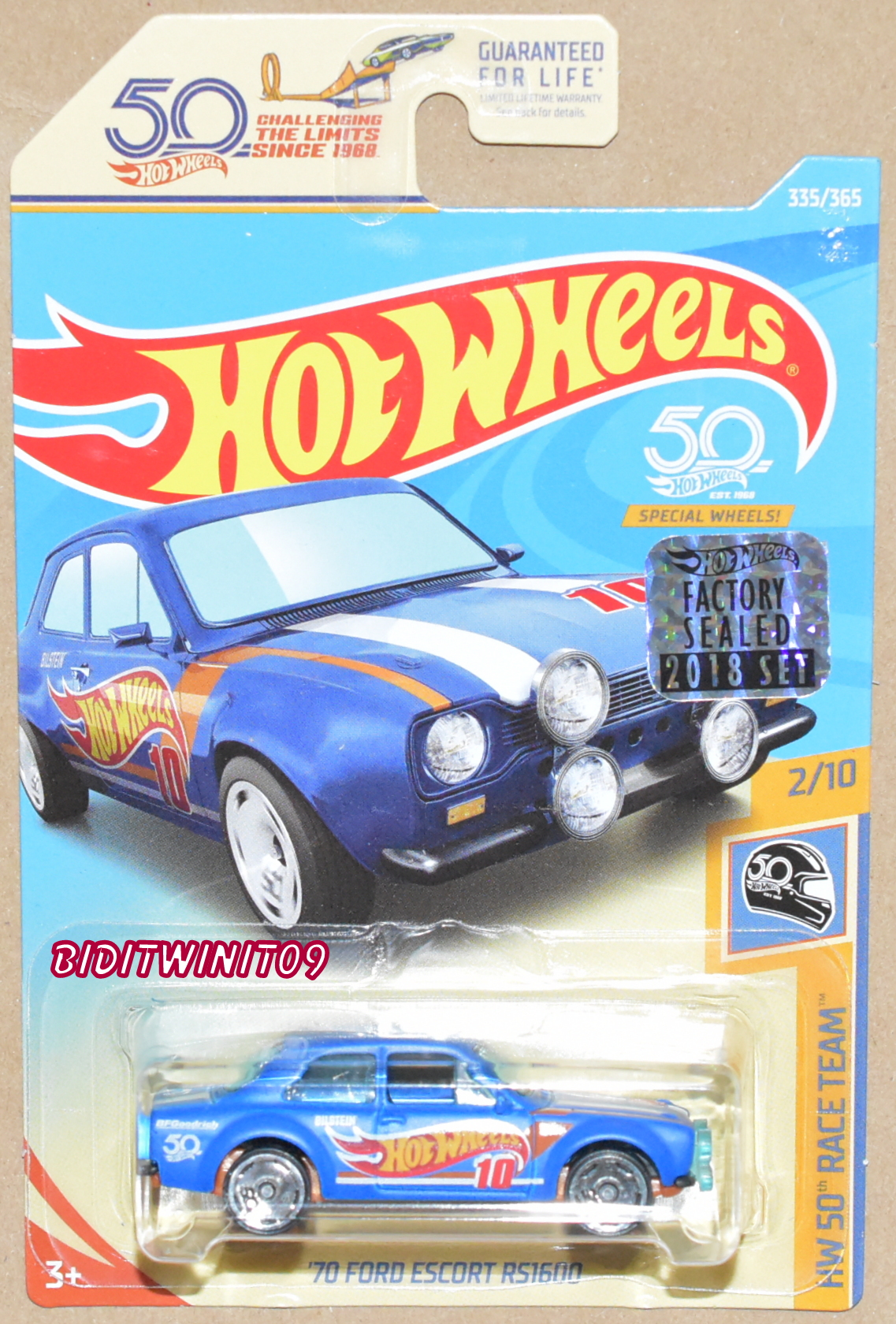 HOT WHEELS 2018 50th RACE TEAM '70 FORD ESCORT RS1600 FACTORY SEALED E+