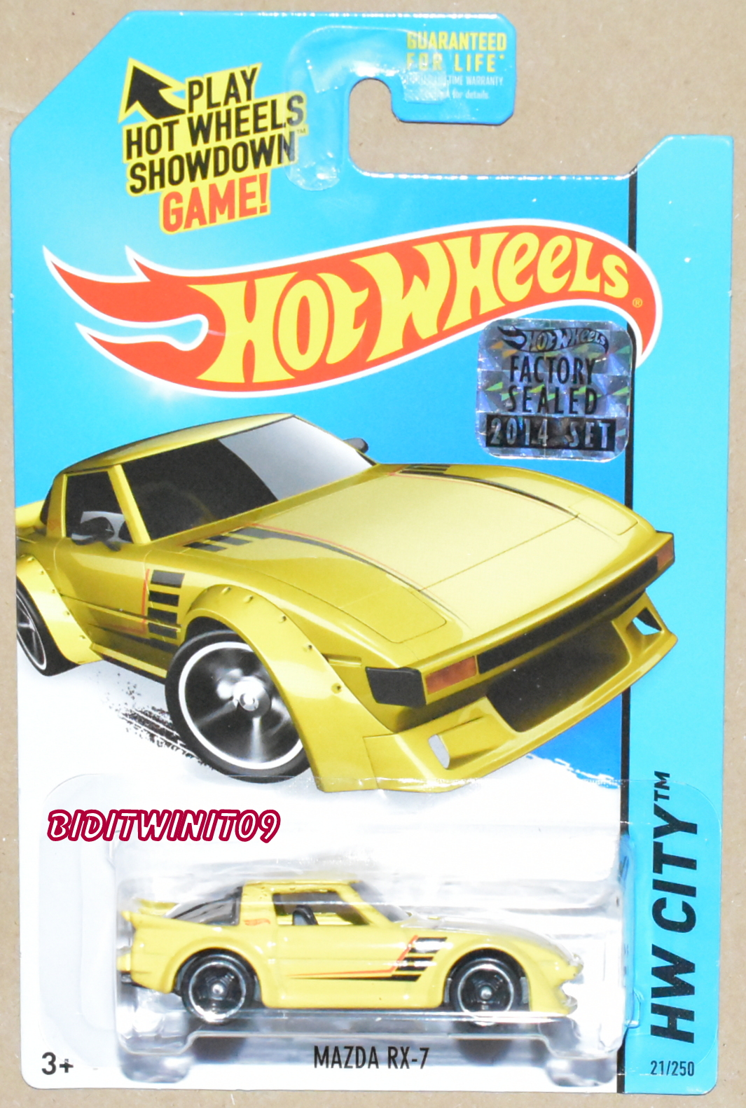HOT WHEELS 2014 HW CITY MAZDA RX-7 YELLOW FACTORY SEALED