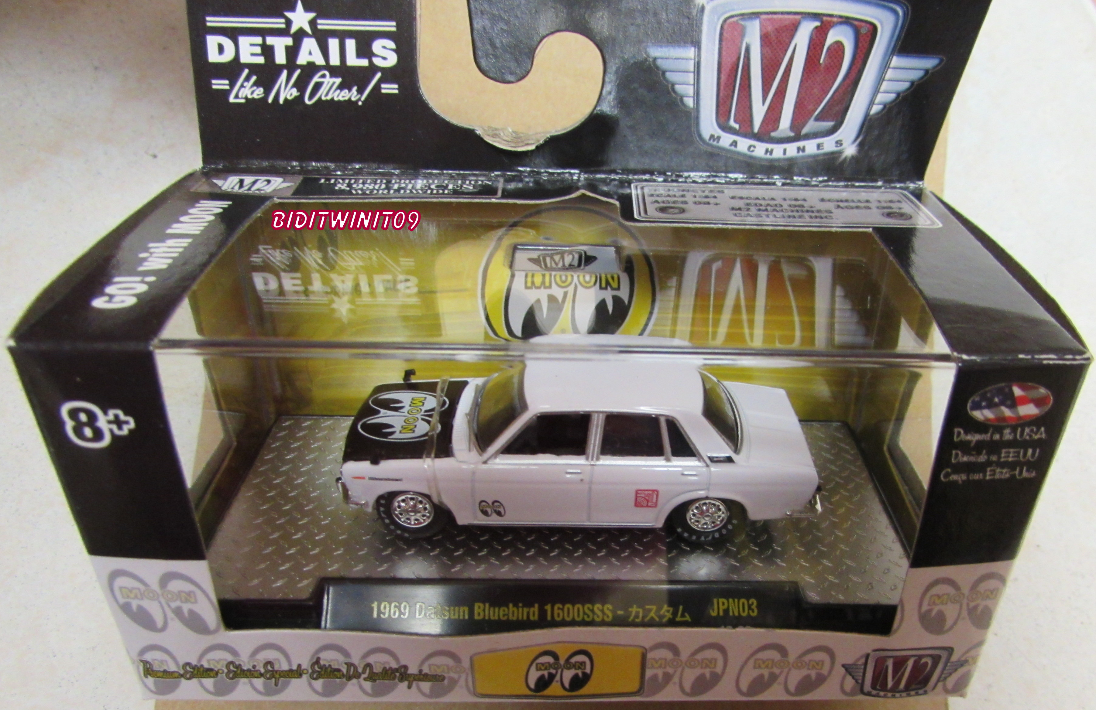 M2 MACHINES MOONEYES 1969 DATSUN BLUEBIRD 1600SSS JPN03 WHITE