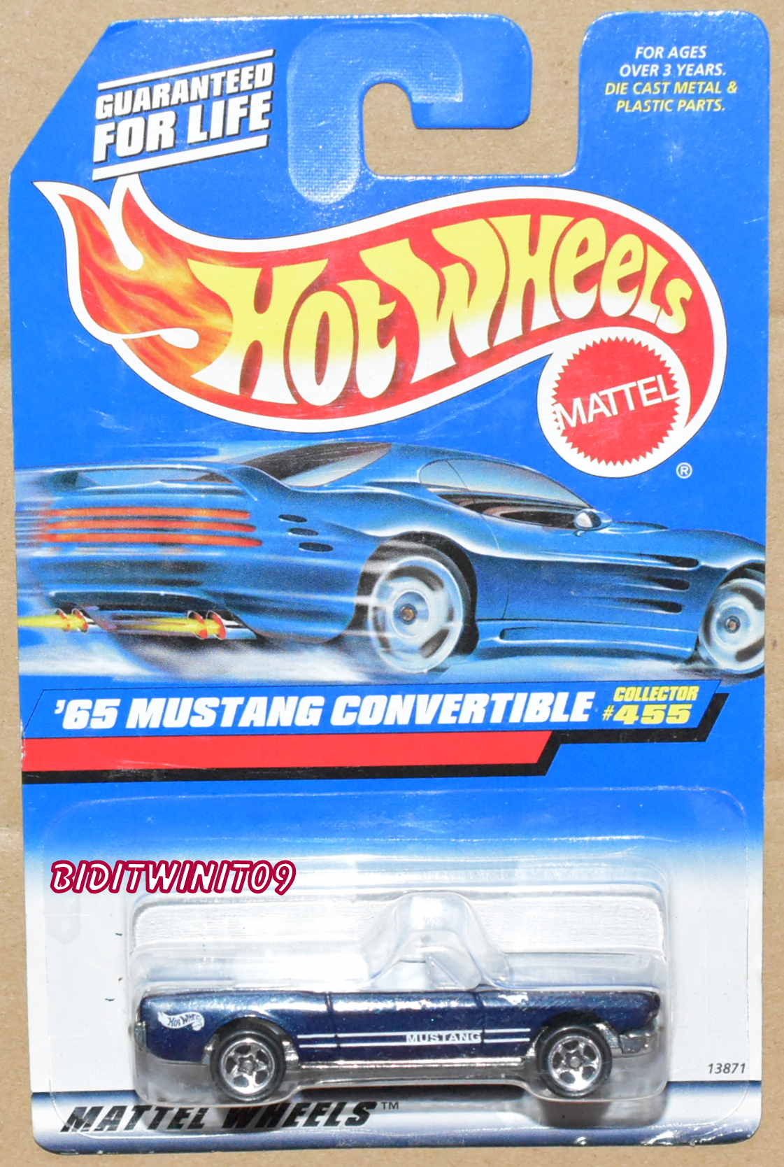 HOT WHEELS 1998 #455 '65 MUSTANG CONVERTIBLE BLUE