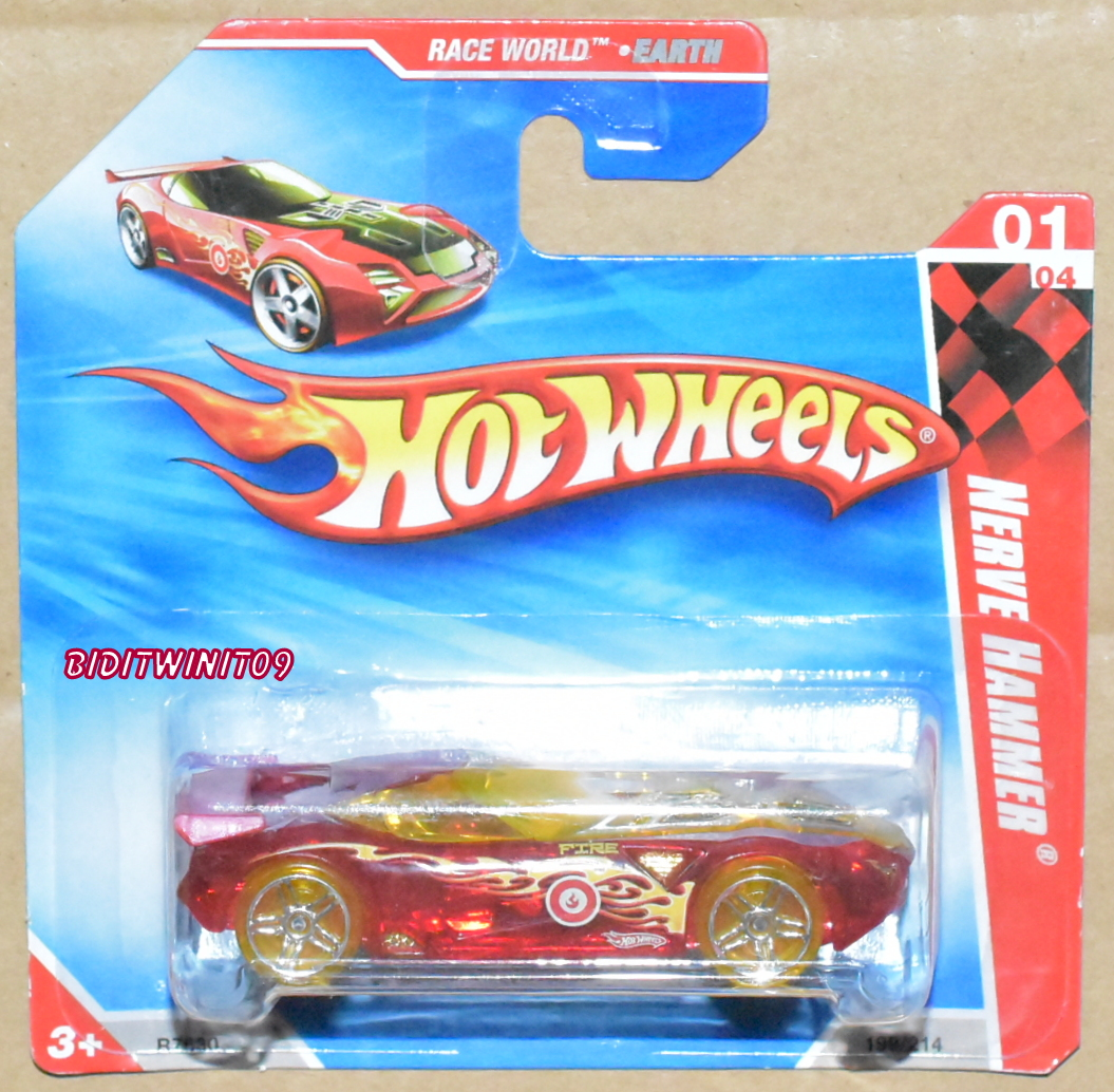 HOT WHEELS 2010 RACE WORLD NERVE HAMMER #01/04 RED SHORT CARD E+