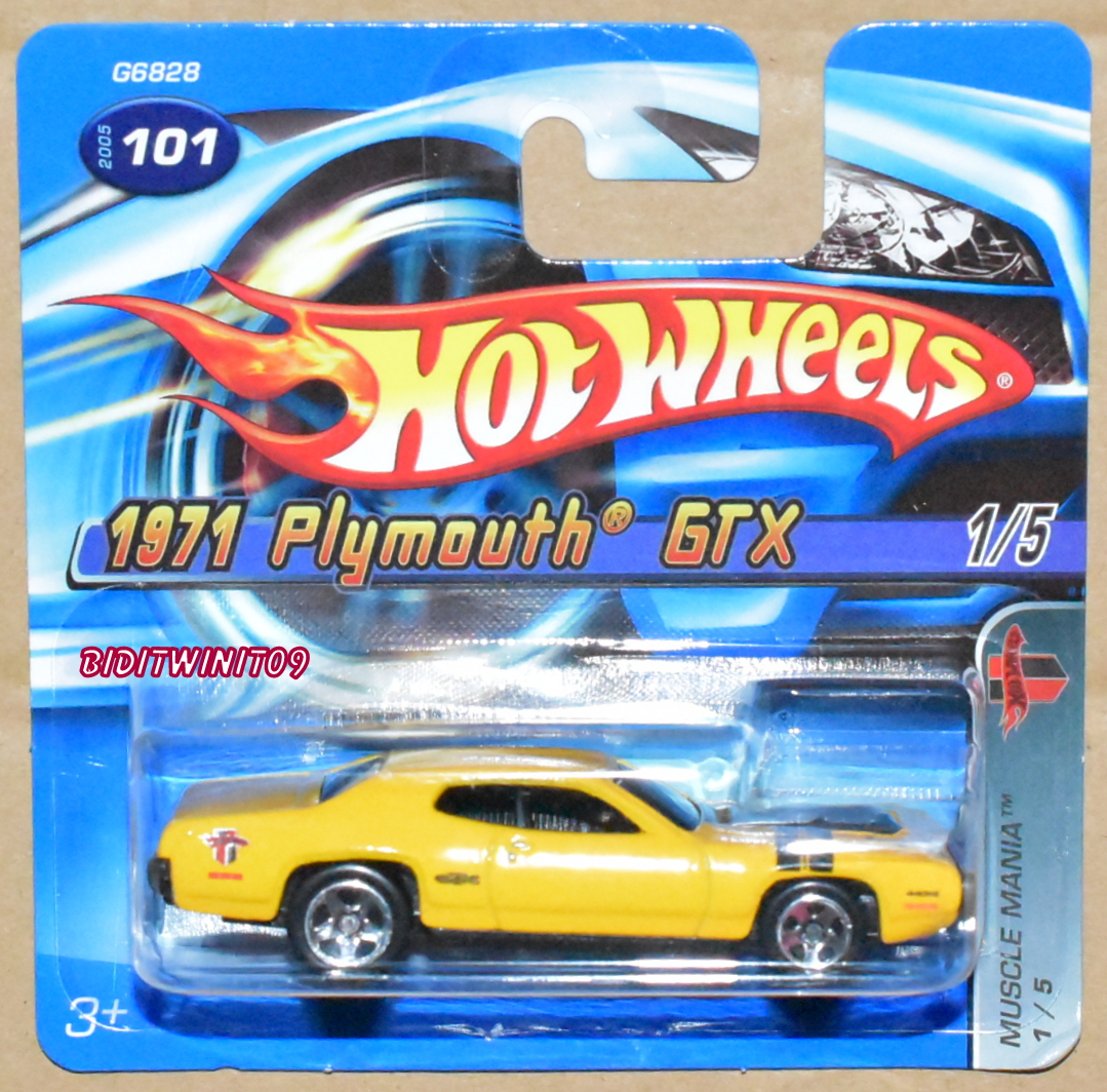 HOT WHEELS 2005 MUSCLE MANIA 1971 PLYMOUTH GTX #101 YELLOW SHORT CARD