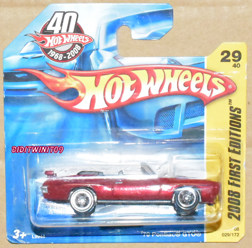 HOT WHEELS 2008 FIRST EDITIONS '70 PONTIAC GTO RED SHORT CARD E+
