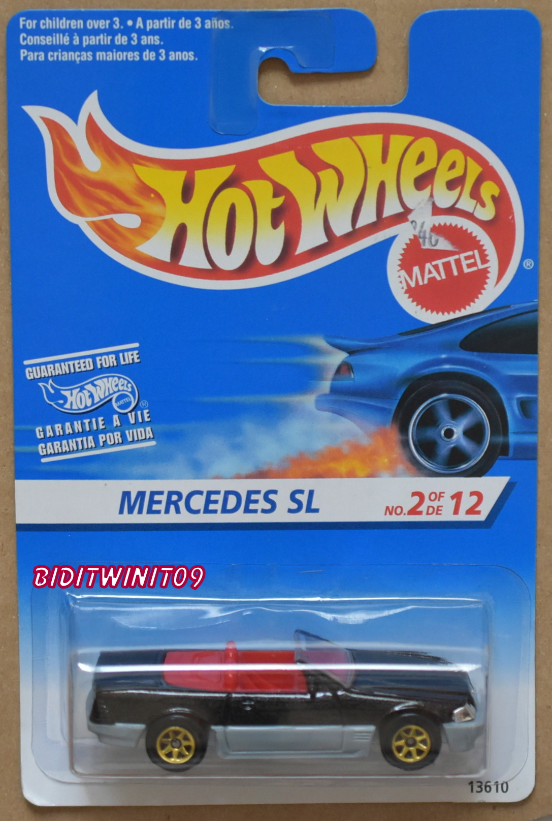 HOT WHEELS 1995 MERCEDES SL #2/12 BLACK GOLD WHEELS E+