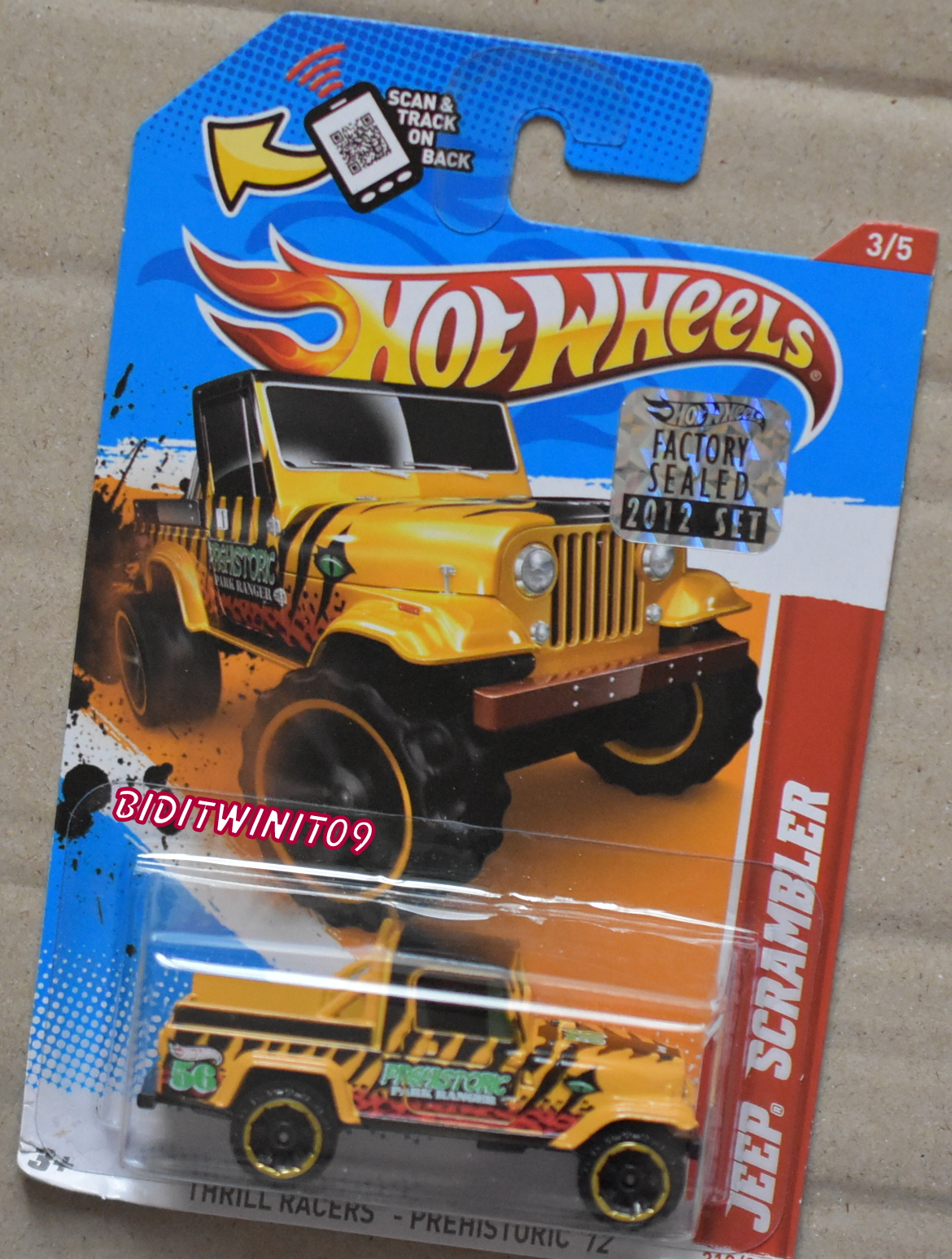 HOT WHEELS 2012 THRILL RACERS PREHISTORIC JEEP SCRAMBLER FACTORY SEALED